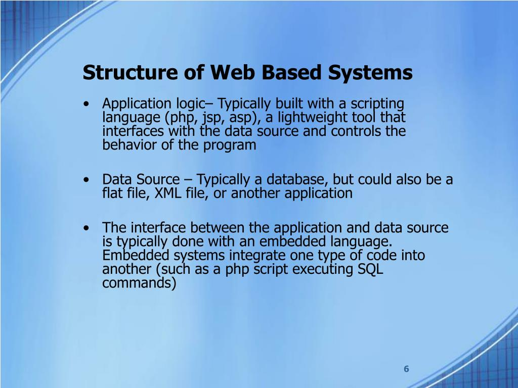 Structure of Web Based Systems