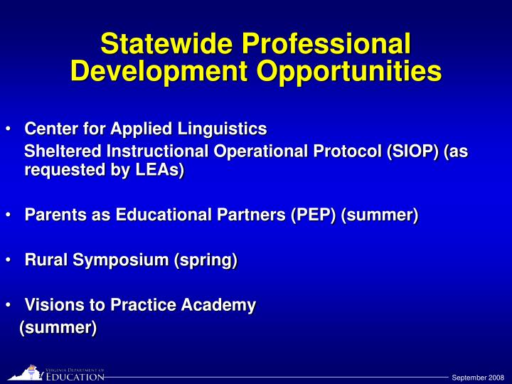 Statewide Professional Development Opportunities