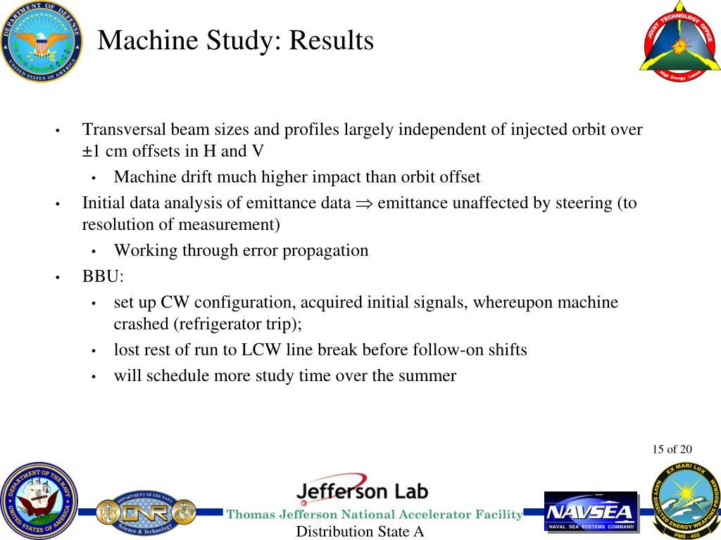 Machine Study: Results