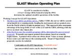 glast mission operating plan