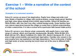 exercise 1 write a narrative of the context of the school10