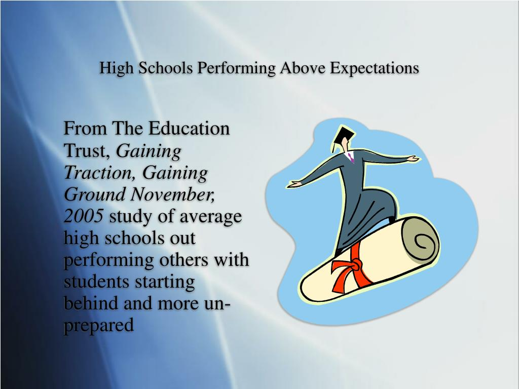 High Schools Performing Above Expectations