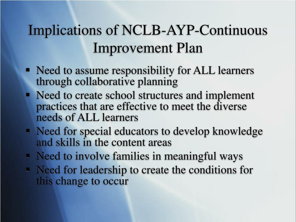 Implications of NCLB-AYP-Continuous Improvement Plan