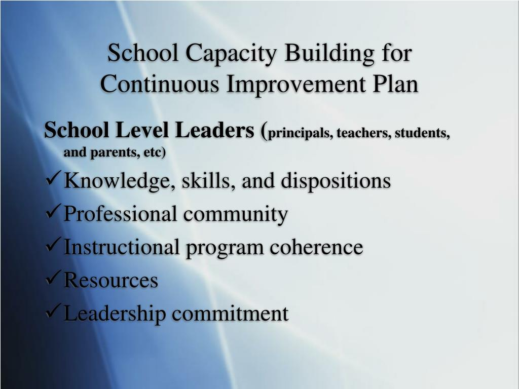 School Capacity Building for Continuous Improvement Plan