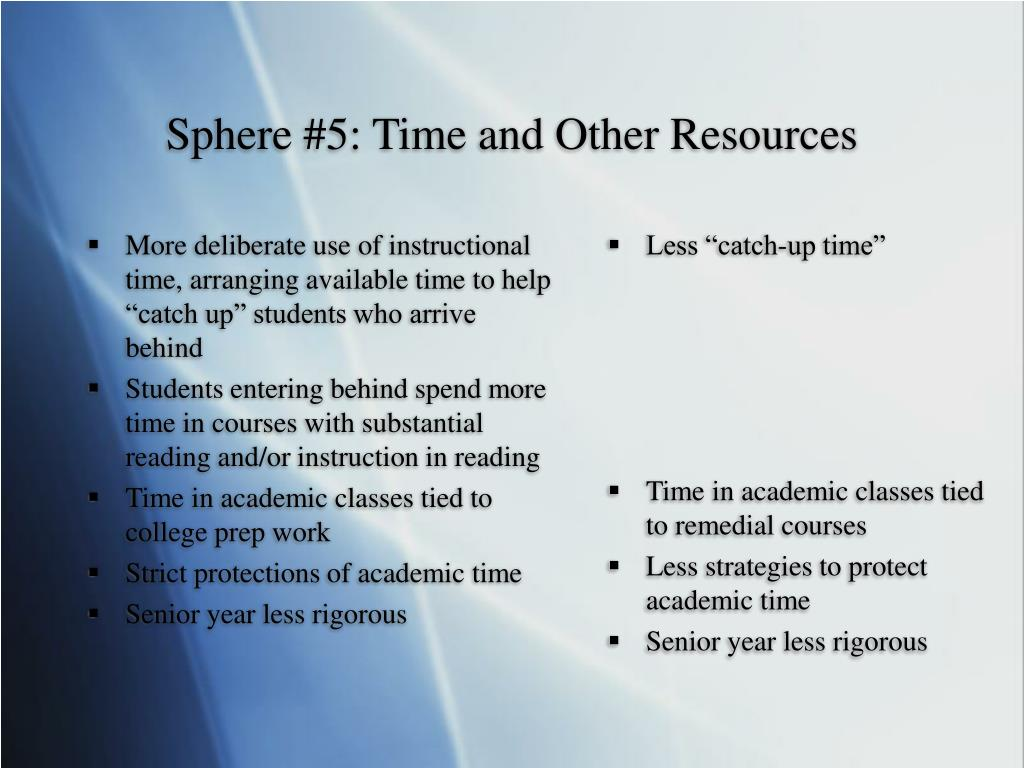 "More deliberate use of instructional time, arranging available time to help ""catch up"" students who arrive behind"