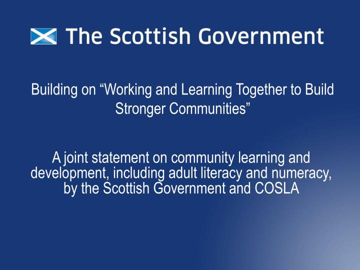 Building on working and learning together to build stronger communities