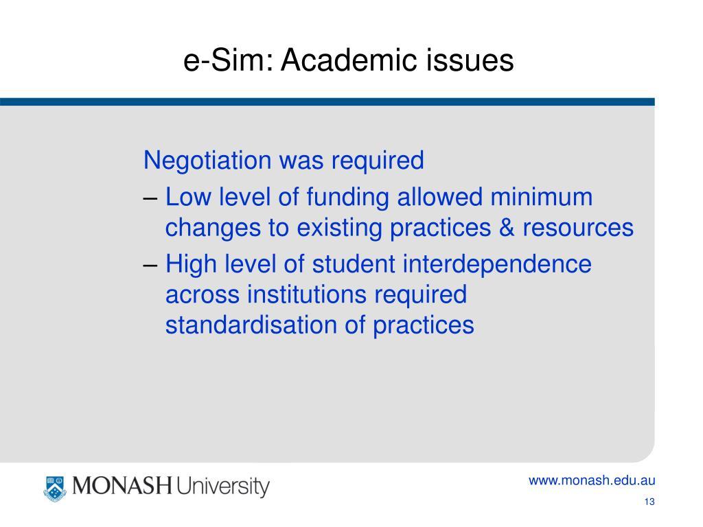 e-Sim: Academic issues