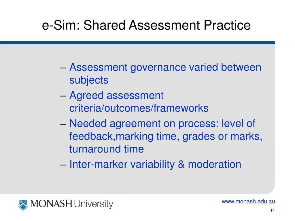 e-Sim: Shared Assessment Practice