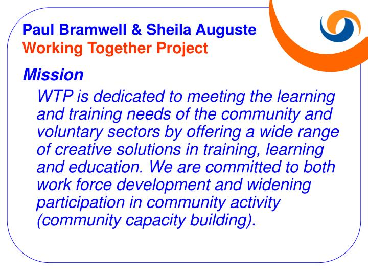 Paul bramwell sheila auguste working together project