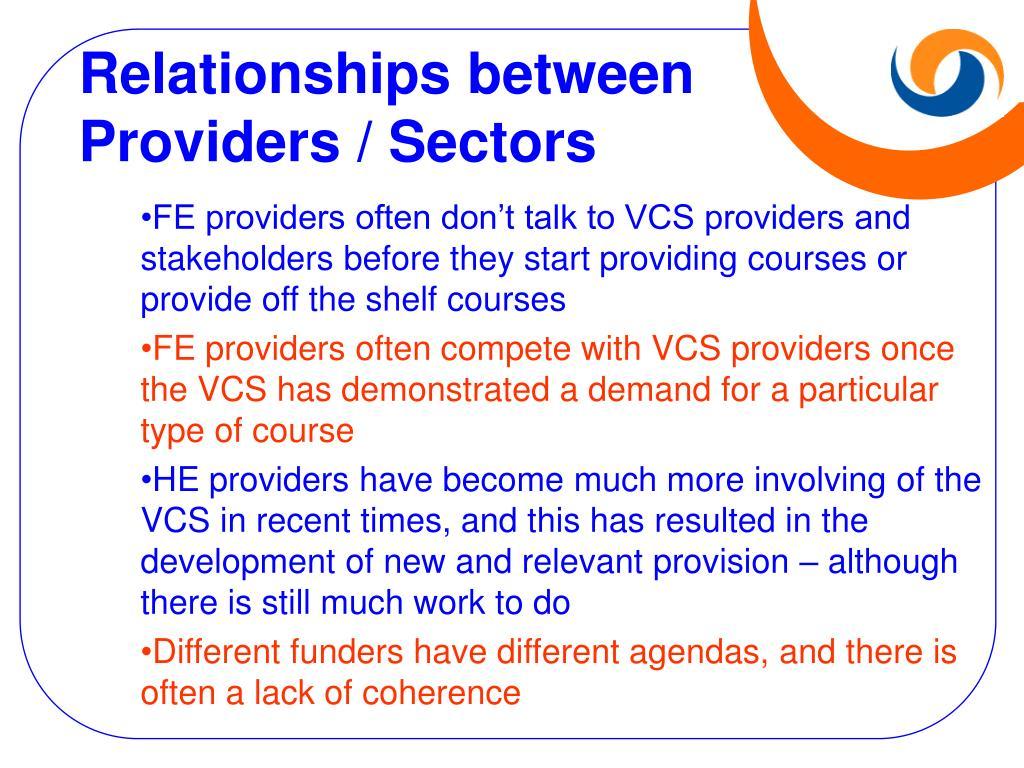 Relationships between Providers / Sectors