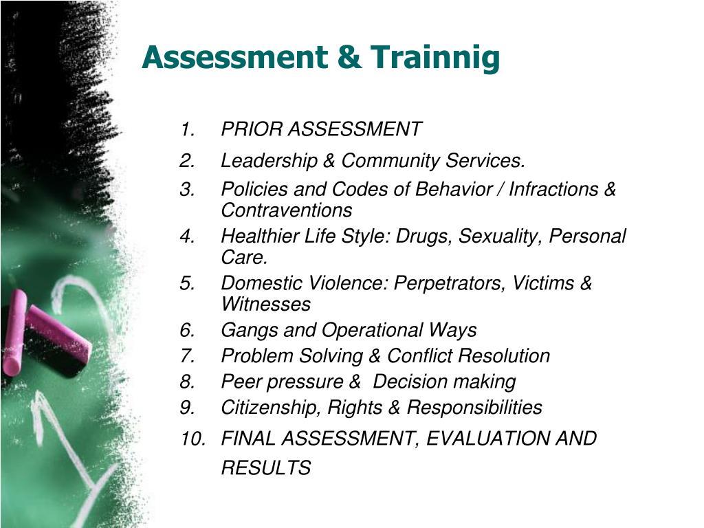 Assessment & Trainnig