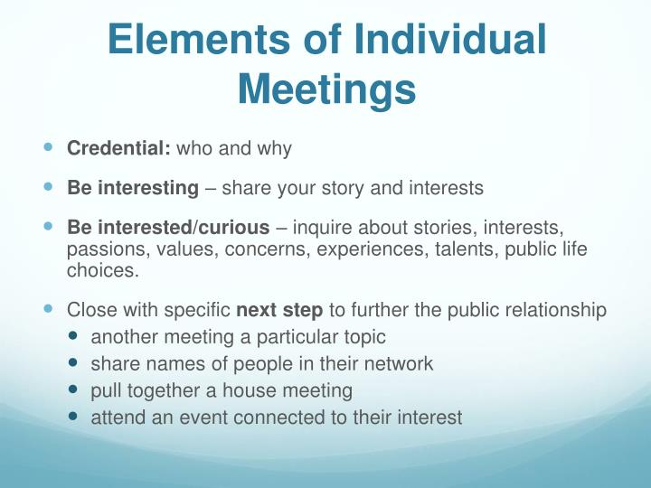 Elements of Individual Meetings