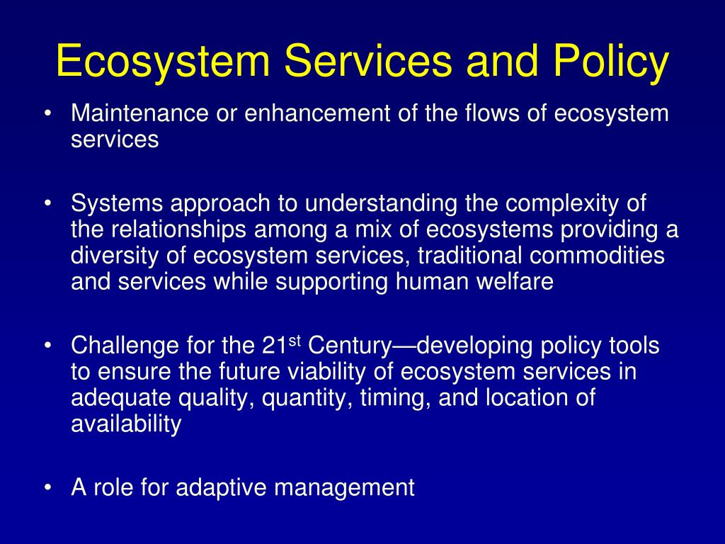 Ecosystem Services and Policy