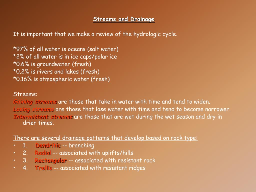 Streams and Drainage