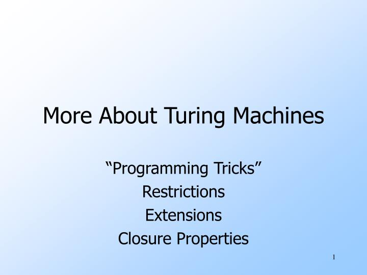 more about turing machines n.