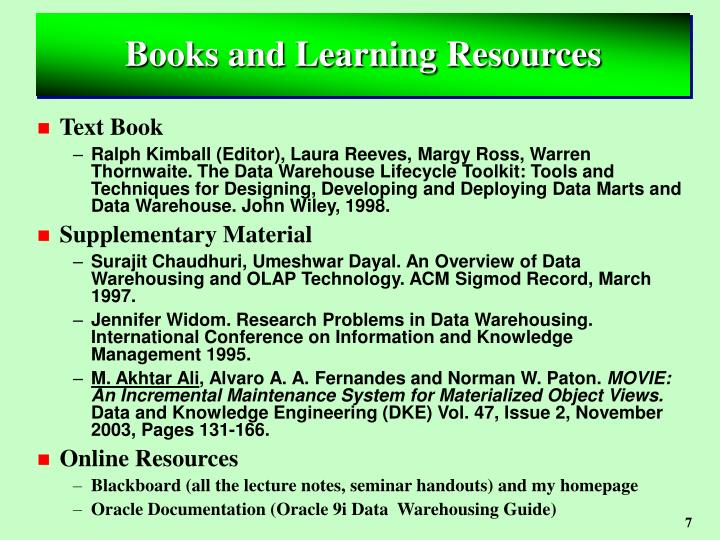 Books and Learning Resources