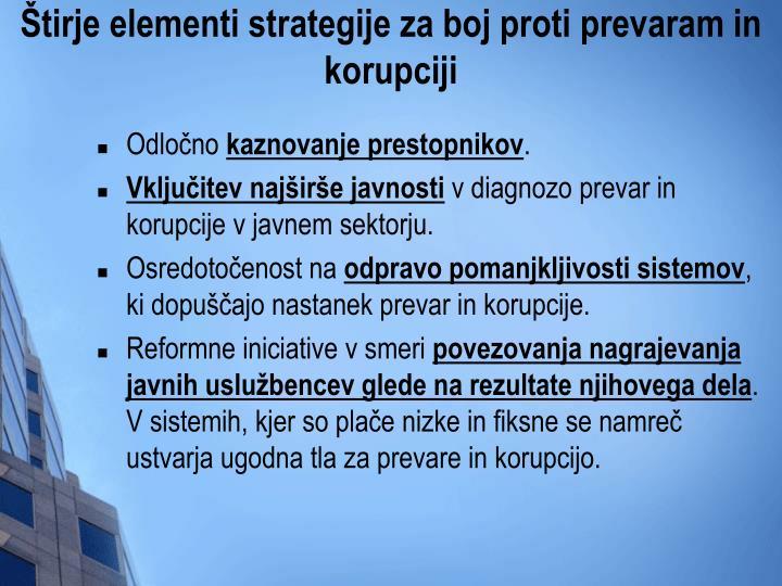 Štirje elementi strategije za boj proti prevaram in korupciji