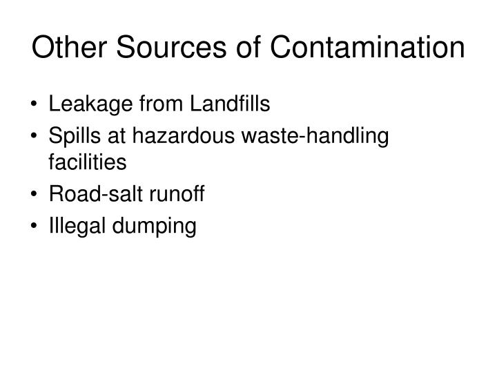 Other Sources of Contamination