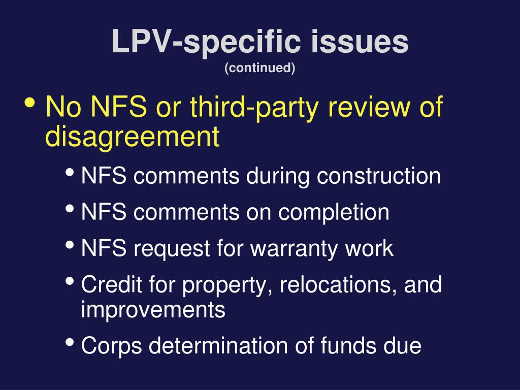 LPV-specific issues