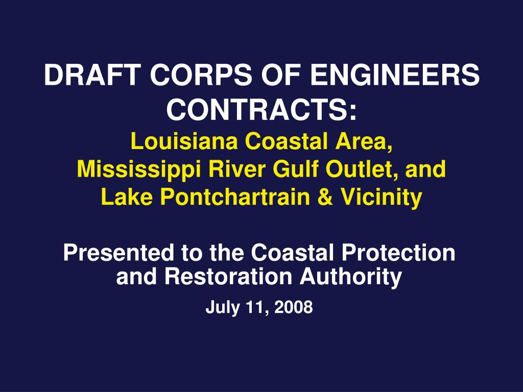 DRAFT CORPS OF ENGINEERS CONTRACTS: