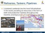 refineries tankers pipelines