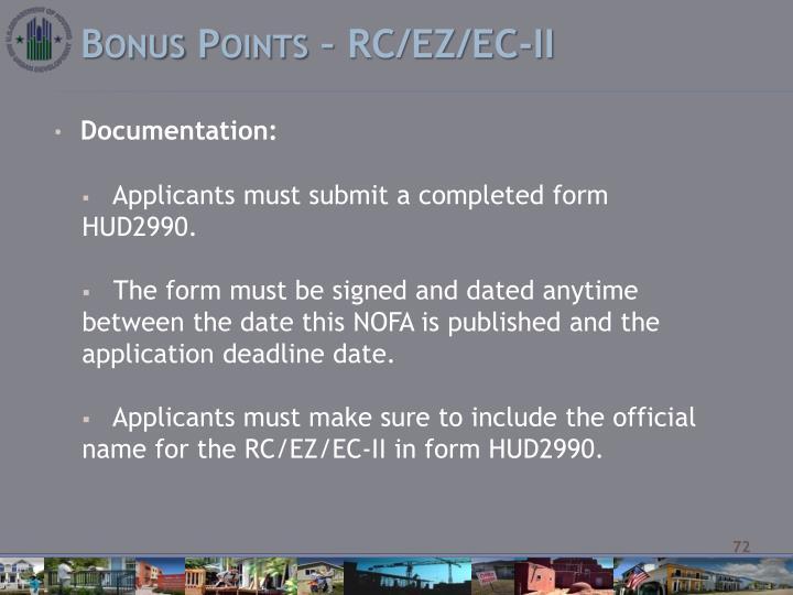 Bonus Points – RC/EZ/EC-II