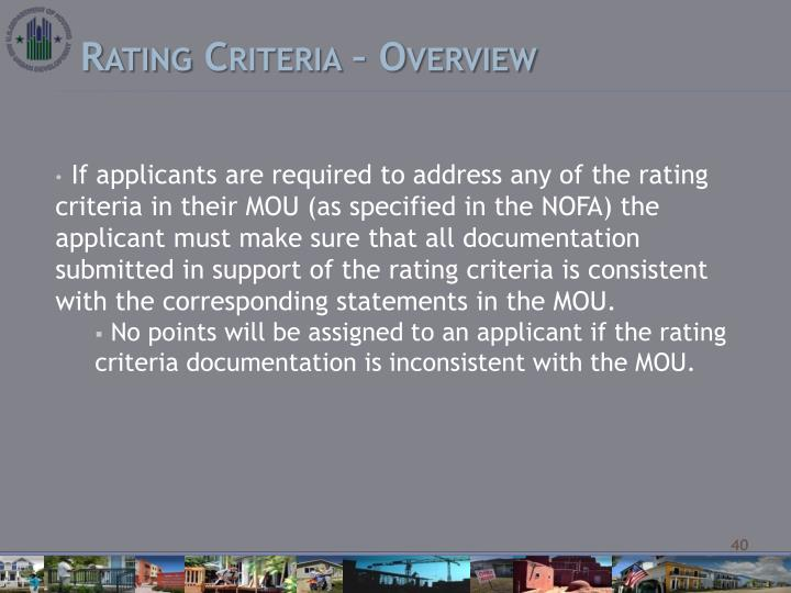 Rating Criteria – Overview