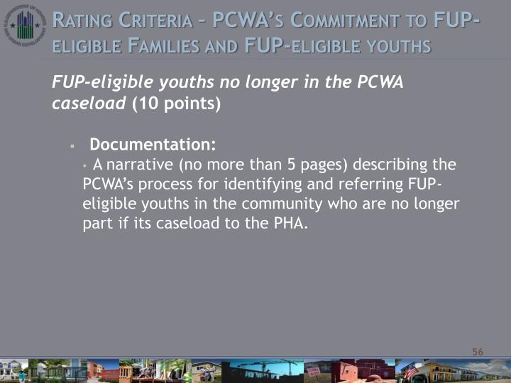 Rating Criteria – PCWA's Commitment to FUP-eligible Families and FUP-eligible youths