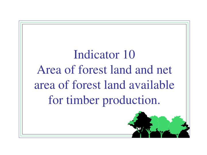 Indicator 10 area of forest land and net area of forest land available for timber production