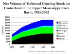 net volume of softwood growing stock on timberland in the upper mississippi river basin 1953 2002