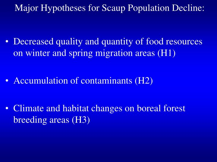Major hypotheses for scaup population decline