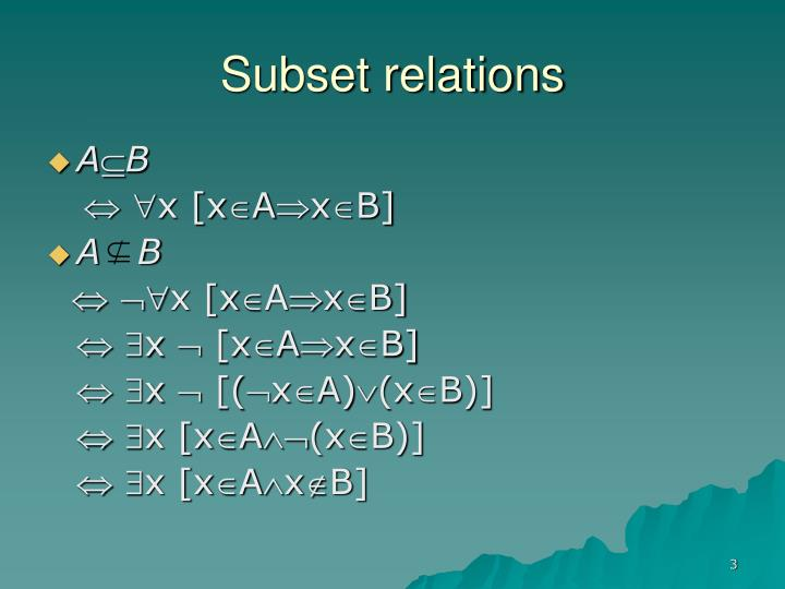 Subset relations