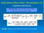 gauss bonnet black holes thermodynamic 1