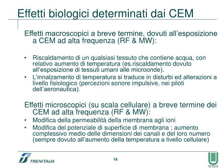Effetti macroscopici a breve termine, dovuti all'esposizione a CEM ad alta frequenza (RF & MW):