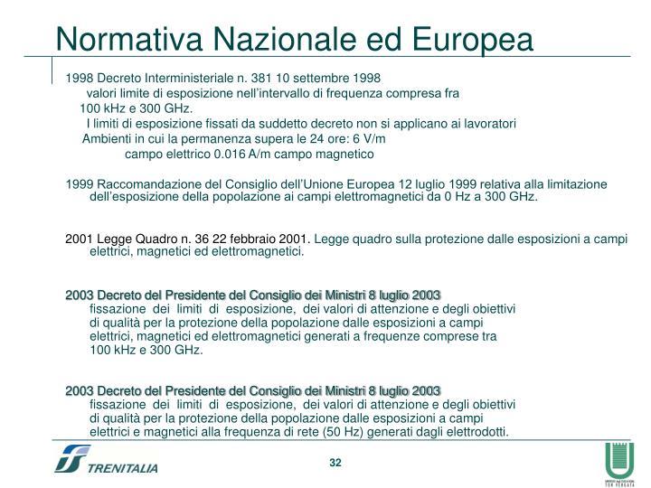 1998 Decreto Interministeriale n. 381 10 settembre 1998
