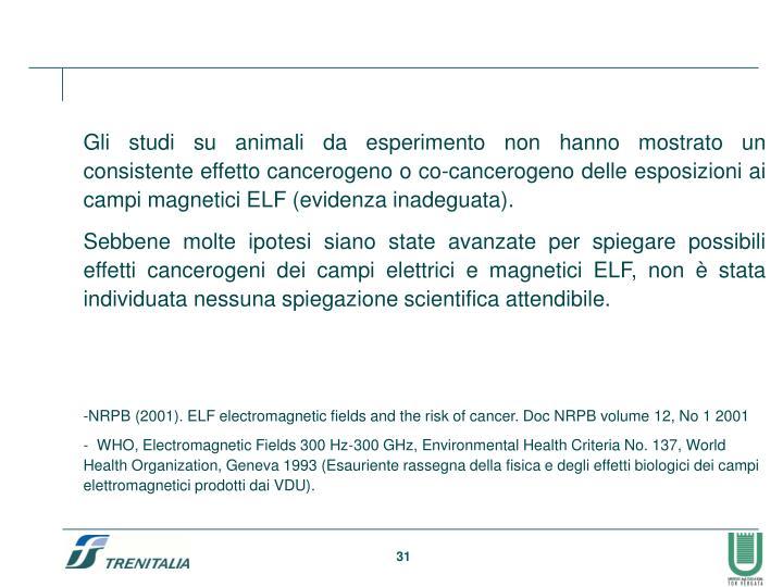 Gli studi su animali da esperimento non hanno mostrato un consistente effetto cancerogeno o co-cancerogeno delle esposizioni ai campi magnetici ELF (evidenza inadeguata).