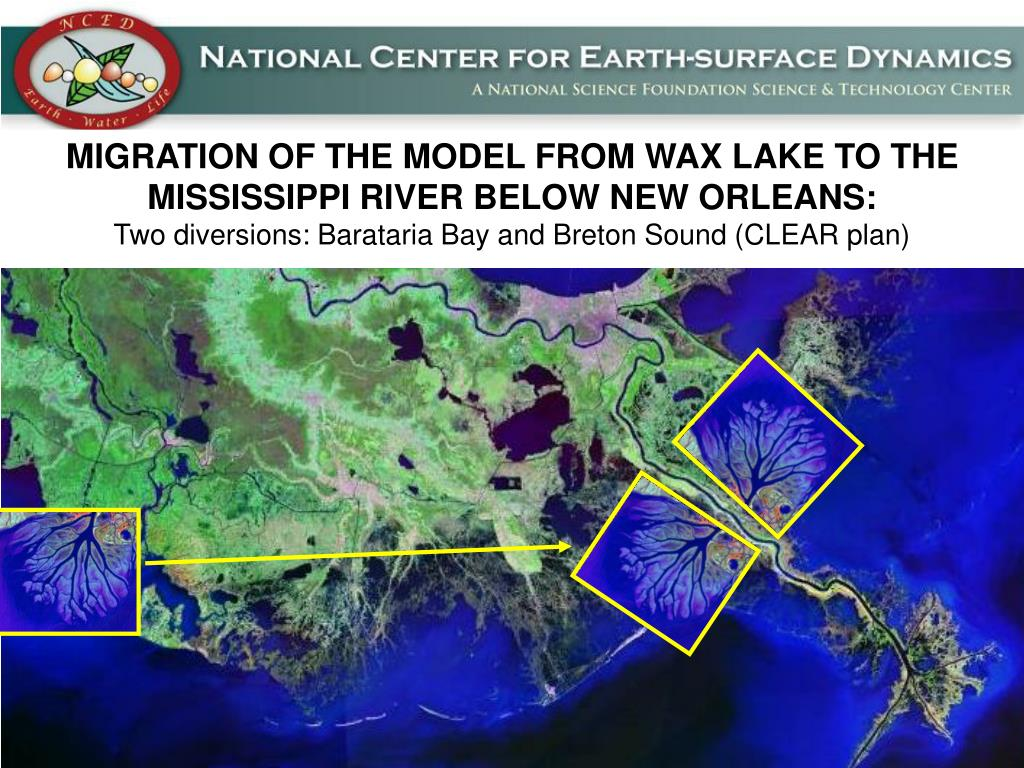 MIGRATION OF THE MODEL FROM WAX LAKE TO THE MISSISSIPPI RIVER BELOW NEW ORLEANS: