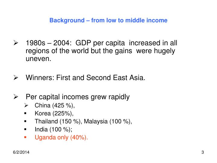Background from low to middle income
