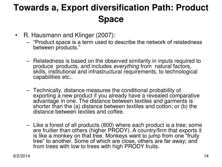 Towards a, Export diversification Path: Product Space