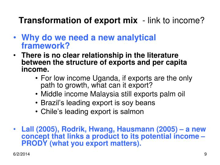 Transformation of export mix