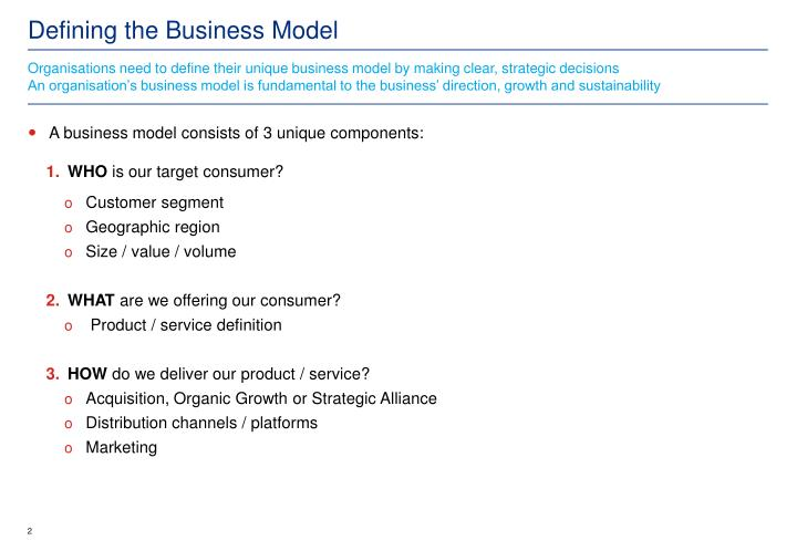 defining the business model n.