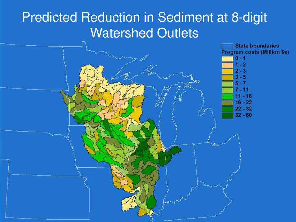 Predicted Reduction in Sediment at 8-digit Watershed Outlets