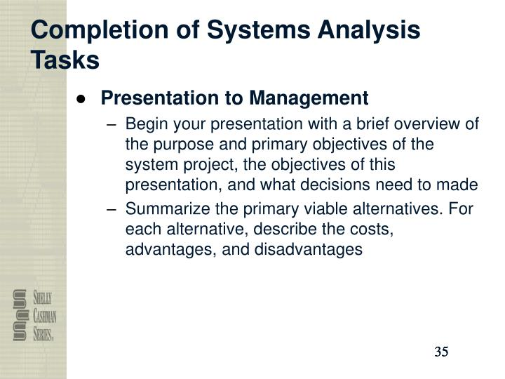 Completion of Systems Analysis Tasks