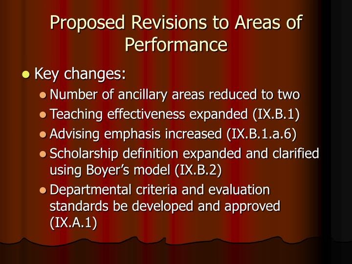 Proposed Revisions to Areas of Performance