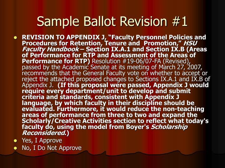 Sample Ballot Revision #1