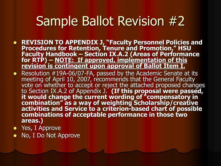 Sample Ballot Revision #2