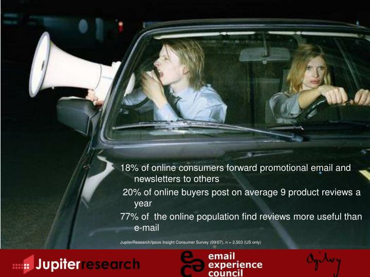 18% of online consumers forward promotional email and newsletters to others