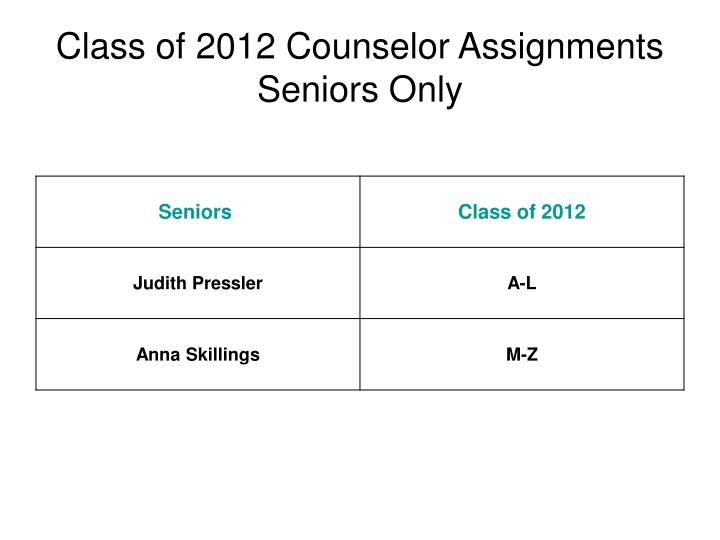 Class of 2012 Counselor Assignments
