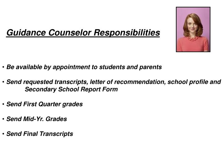 Guidance Counselor Responsibilities