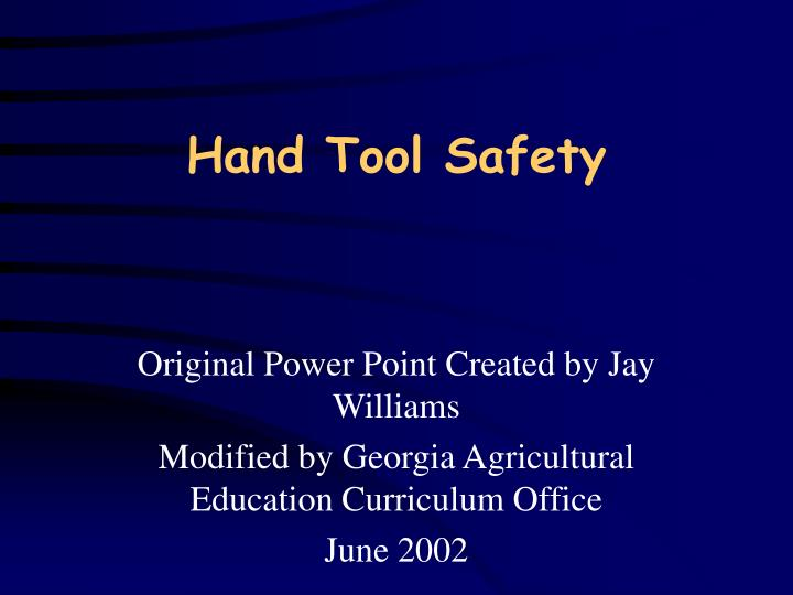 hand tool safety n.